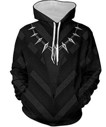 Fang Realistische 3D Hoodie Trui, Zwart Panter Dier Patroon Rits Sweatshirt Outdoor Hoodies 3D Animal Print Pullover Sweatshirt Unisex XXL A