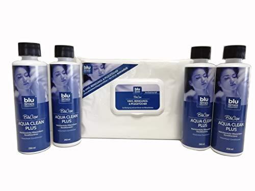 BluTimes Mehrbereichs-Wasserbett-Konditionierer - Aqua Clean Plus Sparpack Conditionierer 4 Flaschen Set + Tücher