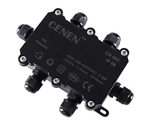 Caja de conexiones a prueba de agua, IP68 Conector de cable eléctrico de 6 vías Glándula Conectores de cables externos de plástico ABS negro externo