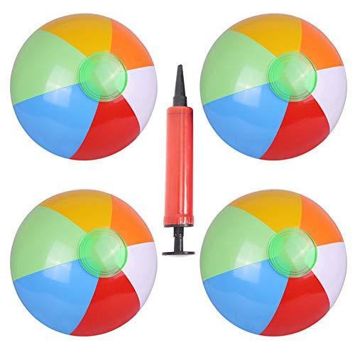 BESTZY Strandball, 4 Stück Wasserball Aufblasbar und 1 Stück Ballonpumpe Kinder für Schwimmbad Party Strand Geburtstags Geschenk
