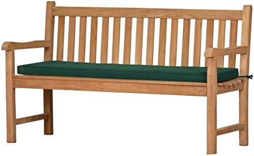 Grüne Bankauflage Kanaria - 150 x 47 cm ✓ Bank-Polster aus 100% strapazierfähigem Polyester ✓ 6 cm dick, bequemes Bankkissen ✓...