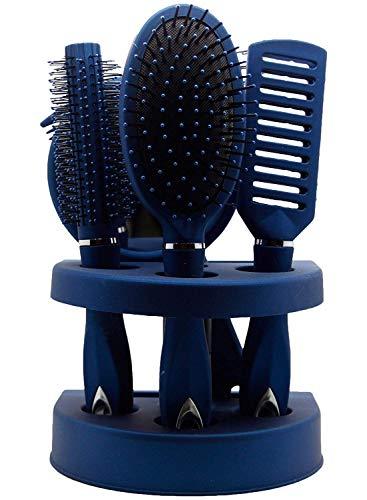 True Face Salon Haarborstel Set | Vent Brush, Paddle Brush, Ronde Blow-Drogen Haarborstel, Kam, Spiegel, Stand | Luxe Professionele Haarborstel Gift Set