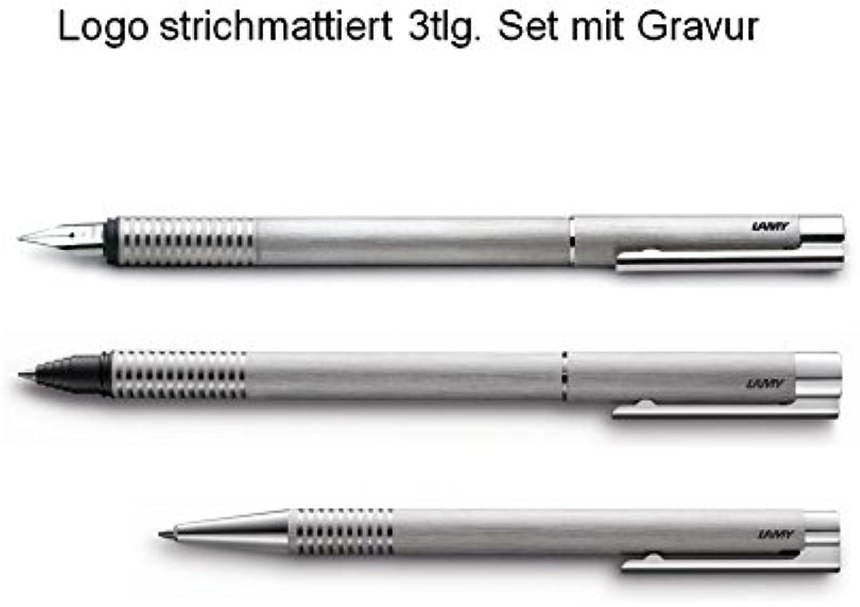 Lamy Set logo 3tlg Füller Tintenroller Kugelschreiber Kugelschreiber Kugelschreiber mit Gravur strichmattierter Edelstahl B00UXEJVGW | Verwendet in der Haltbarkeit  2401ac