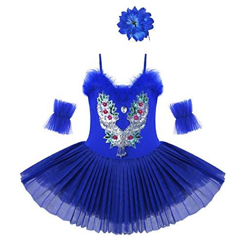 Agoky Vestido de Danza Ballet para Nia Maillot de Patinaje Artstico Diamantes Body Leotardo de Baile Gimnasia Rtmica con Falda Disfraz Bailarina Azul Marino 7-8 aos