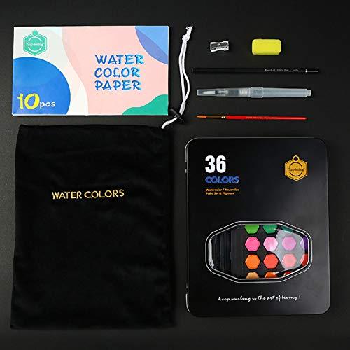 Staright Set de pintura de acuarela 36 s surtidos Pigmento de color de agua sólida con pincel de agua Pincel Lápiz Esponja Papel de acuarela Suministros de arte para artistas Principiantes Estudiantes