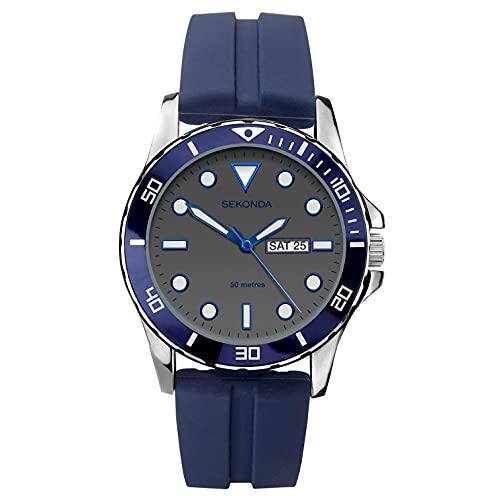 Sekonda Reloj de cuarzo analógico para hombre con correa de silicona azul y esfera gris 1702