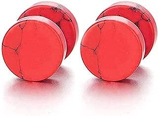 HLXHuiDM H07 2pcs 10MM Marble Stud Earrings Men Women, Steel Cheater Fake Ear Plugs Gauges Illusion Tunnel