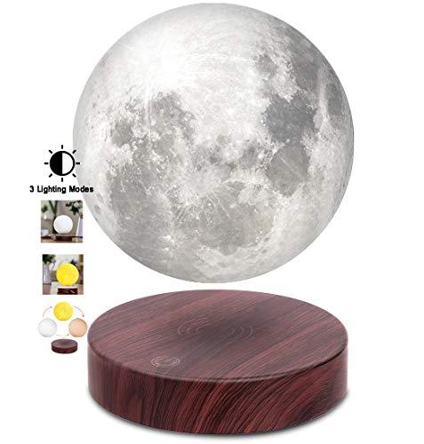 VGAzer schwebende Mond lampe, frei schwebend und frei drehbar mit luxuriöser Faux-Holzsockel und 3D-Druck-LED-Mondlicht, für einzigartige Geschenke, Raumdekor, Nachtlicht, Schreibtisch-Tech-Spielzeug