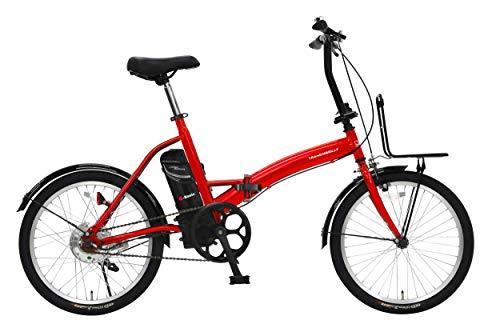 トランスモバイリー(TRANS MOBILLY) E-BASIC 電動アシスト自転車 レッド 折りたたみ 20インチ 前後泥除け付き 前キャリア付き またぎやすくコンパクト バッテリー容量5.0Ah 92213 大