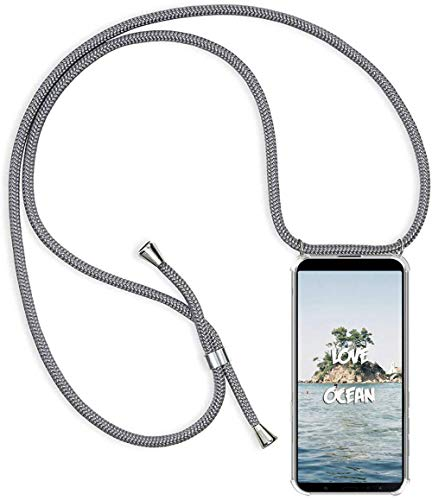 PekaTech Funda Transparente con Cordón para Xiaomi Mi Play - Carcasa con Cuerda y Esquinas Reforzadas con Correa - Elegante Case Cover con Collar de Cordón Cruzado, Gris