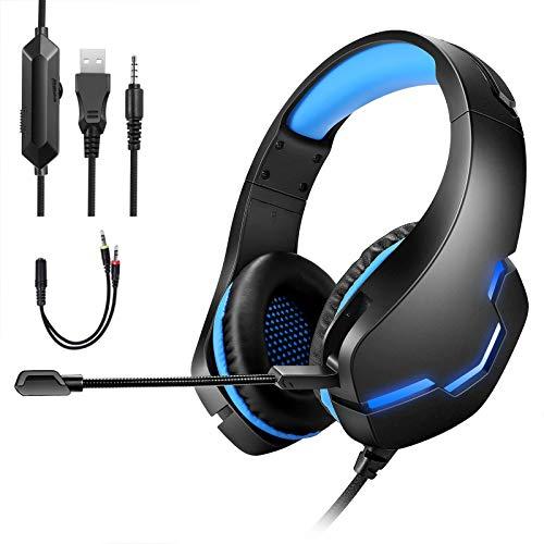 Cuffie Gaming per PS4,Gaming Headset da Gioco con Cavo USB Audio Jack da 3,5 mm,Cuffie Over Ear con Microfono Luce LED e Controllo Volume, Cuffie per PS4 Xbox One S,PS vita,Nintendo Switch,PC,etc