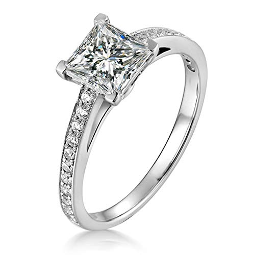 ButiRest Wedding Ring White Gold, 14 / 18 Carat White Gold Ring with Four Claws 0.8CT Moissanite Princess, Colour Silver silver