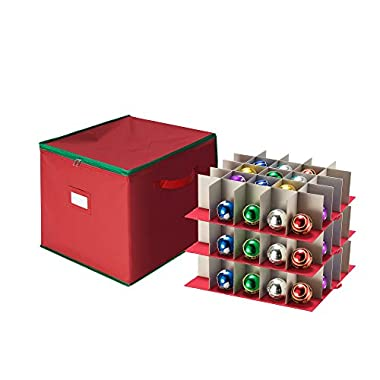 Tiny Tim Totes Red Holiday Ornament Storage Chest Holds 75 Balls w/Dividers