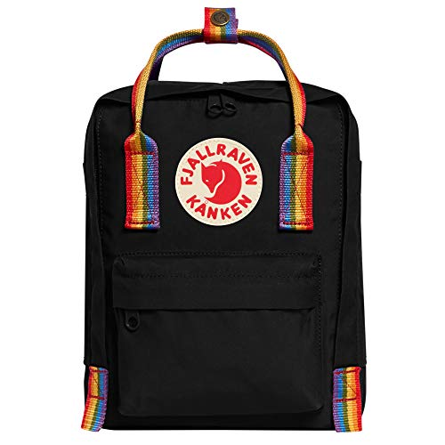 Fjällräven Unisex-Adult Kånken Mini Sports Backpack, Black-Rainbow Pattern, One Size