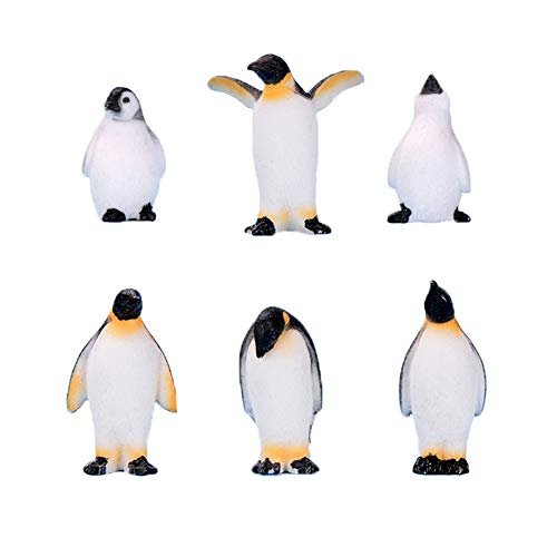 6 Pcs Cute Ocean Animal Penguin Model for Kids, Antarctic Realistic Penguin Figurines Collection Playset, Easter Eggs Penguin Cake Toppers Christmas Birthday Gift