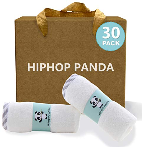 HIPHOP PANDA Bamboo Baby Washcloths,30 Pack (Gray Stripe) - 2 Layer Ultra Soft Absorbent Bamboo Towel - Natural Reusable Baby Wipes for Delicate Skin - Baby Registry as Shower