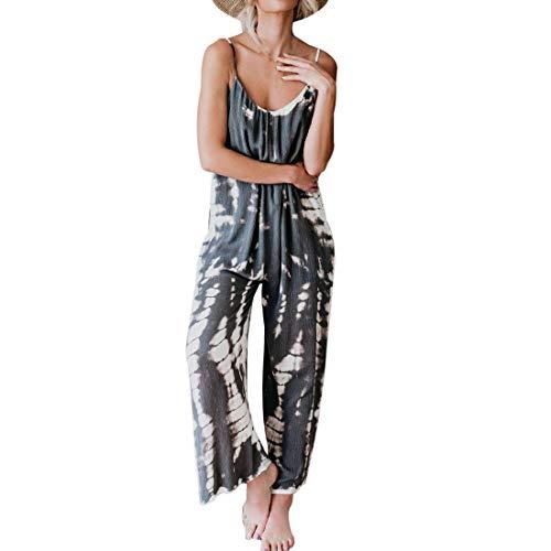 MoneRffi Latzhose Damen sexy Leibchen Jumpsuit Lange lose Overalls Hose breites Bein Strampler Mode Tie Dye Jumpsuits Sommerhose(Grau,XL)