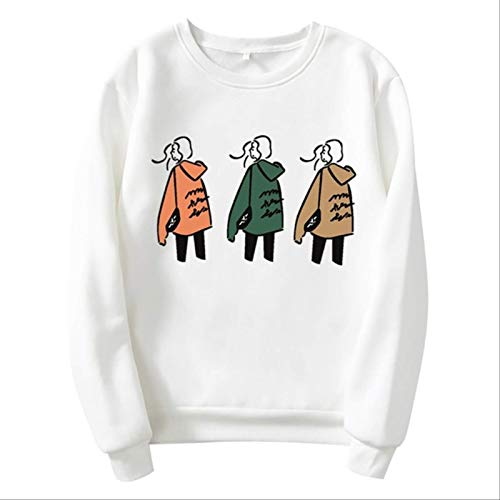 ZCMWY Oversize Cartoon Print Hoodie Women Loose Casual Cute Long Sleeve Lady Pullover Tops Streetwear Sweatshirt Clothes Xl White