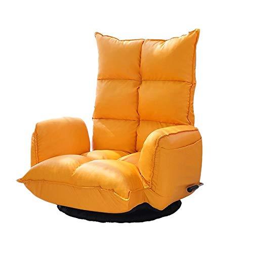 KJRJSF Silla reclinable Individual Asiento Acolchado Cuero de la PU Sala de Estar Sofá reclinable Silla reclinable Moderna Asiento de Club Sillón de Cine en casa (Color : Orange)