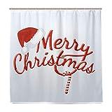 WINTERSUNNY Merry Christmas Season Eve Silvester Dekorative Dekoration Geschenk Duschvorhang Polyester Stoff Lustige Hut Zuckerstange Gardinen für Badezimmer mit 12 Haken 71 x 71 cm