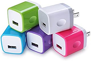 USB Wall Charger,Charging Block Sicodo 5-Pack Universal 1A Wall Plug Charger Cubes for iPhone 8, 7 Plus, 6 Plus, 6s Plus, Tablet, Samsung Galaxy S8 Plus, S7 Edge, HTC, Nokia, LG, Sony and More