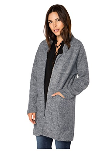 Sublevel Damen Mantel Übergangs-Jacke aus Sweat offen Dark-Grey S