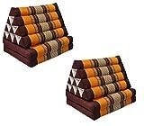 Wifash Set de 2 colchónes Thai 2 Pliegues, con cojín triángulo, Ocio, colchón, Kapok, Playa, Piscina, Fabricado en thailande, marrón/Naranja (2x81102)