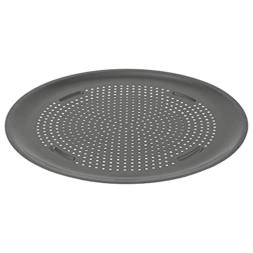 Good Cook AirPerfect Nonstick Large Pizza Pan 15.75  , Perforated Crispy Crust with Cutting Guide, Glimmer Gun Metal