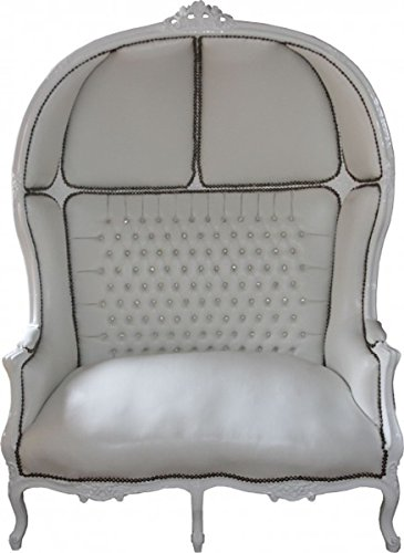 Casa Padrino Baroque 2er Balloon Sofa White Leather Look/White - Living Room Couch Furniture Lounge Wedding