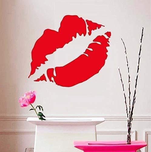 42X43 cm Welkom Sex Lady Rode Kus Lip Patroon Muurstickers Home Decor Sticker Sexy make-up muren Decal voor decoratie