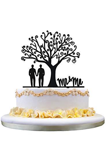 zhongfei Gay Wedding Cake Topper,Mr & Mr Cake Topper for Groom Gifts,Tree Acrylic Cake Topper