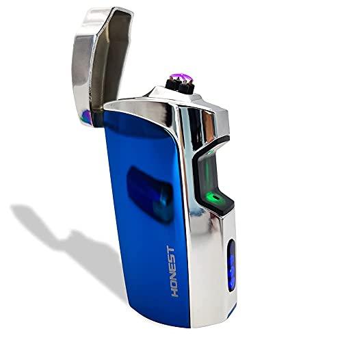 充電式ライター赤外線センサープラズマライター、防風デュアルアークライター屋外充電式USBライターフレームレス電気ライター、LEDバッテリーインジケーター付き(ICYブルー)