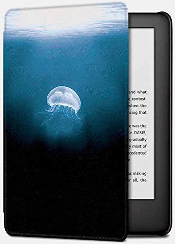 Capa para Kindle Básico da 8a geração - Rígida - Fecho Magnético - Hibernação - Medusa - Água Viva