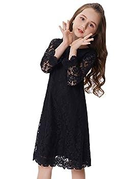 Girls Soft Cotton Long Sleeve Lace Dresses  9-10yrs  CL010442-3 Black