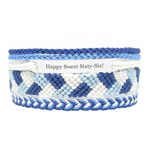 Miiras Geburtstag graviertes handgemachtes Armband - Happy Sweet Sixty-Six! - Blau - Geschenk für Frauen, Mädchen, Freunde, Mütter, Töchter, Tanten, die Sechsundsechzig Jahre alt sind