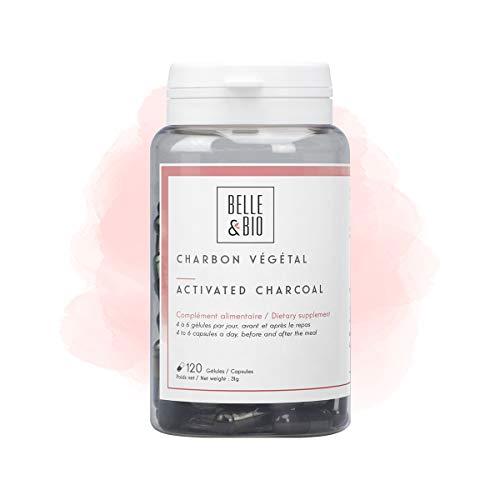 Belle&Bio - Charbon Végétal Activé - 120 gélules - 1200 mg/jour - Digestion - Fabriqué en France