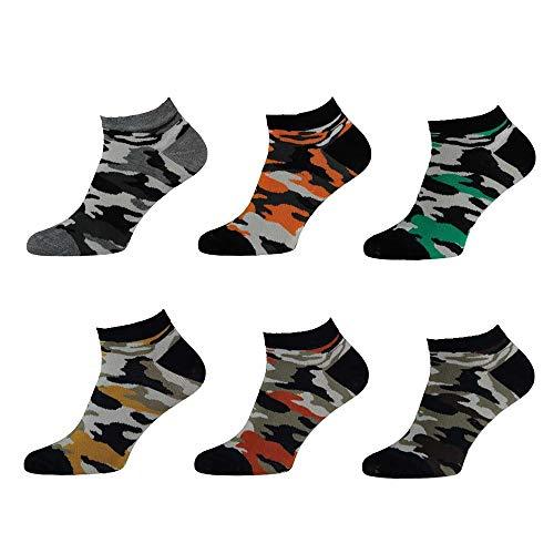 Lieblingsstrumpf24 6 Paar Herren Socken Sneaker Füsslinge Bambus Crazy Socken Creativ Modisch Bunt (Camoflage (Sneaker), 43-46)