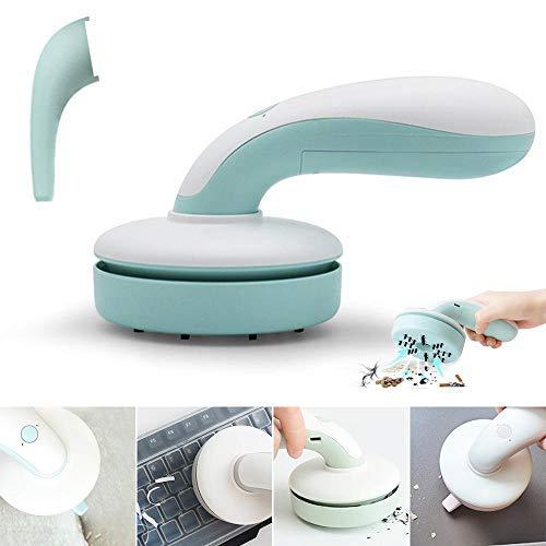 STBN-BEST Mini Aspiradora Limpiador Portátil de Teclado Limpiador Inalámbrico de Mano Recargable de Mesa Barredora de Migas Aspirador de Polvo de Escritorio para Espacios Estrechos (Azul)