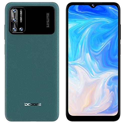 DOOGEE N40 Pro Android 11 Móvil Libres 4G, Helio P60 Octa-Core 6GB+128GB, 6.52'' HD+ Teléfono, Batería 6380mAh, Cámara Trasera Cuatro 20MP, Cámara Frontal 16MP, Huella Digital Dual SIM GPS Verde