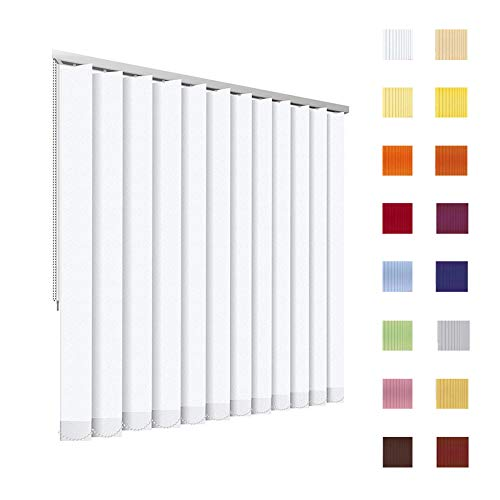 HB-Sonnenschutz Lamellenvorhang, Lamellen, Vertikallamellen, Vertikaljalousie, Komplettset, 127 mm, weiß, Weiss, Schnur/Kette, jedes Maß ist möglich (Breite: 251-300 cm x Höhe: 151-200 cm, weiß)