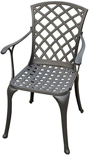 Crosley Furniture Sedona Solid-Cast Aluminum Outdoor High-Back Arm Chair, Black