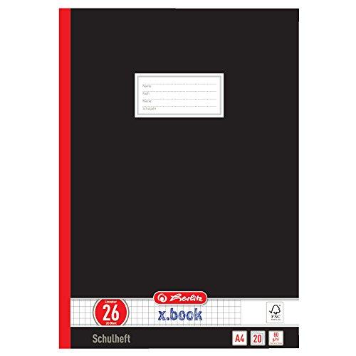 Herlitz 331223 Schulheft A4, kariert mit Rand, Lineatur 26, schwarz 10er Packung