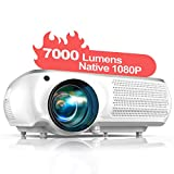 """TOPTRO Native 1080P Projector,7000 Lumens Video Projector Support 300"""" Screen with 4D ±"""