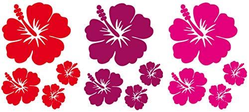 DD Dotzler Design Auto-Aufkleber Set Hibiskus-Blumen Blüten Sticker Blumen-Ranke Vinyl-Folie Auto-Dekor Aufkleber-Folie 12 Stück Farbe rot pink violett