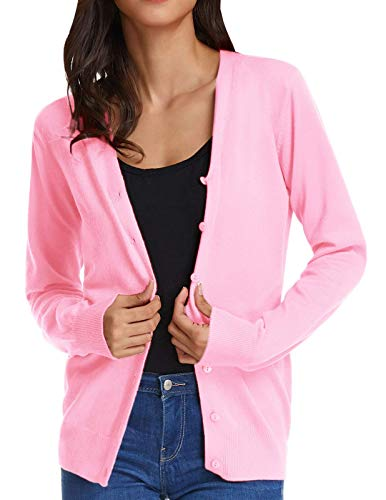 GRACE KARIN Ladies Cardigan Sweaters for Women Lightweight (2XL,Pink)