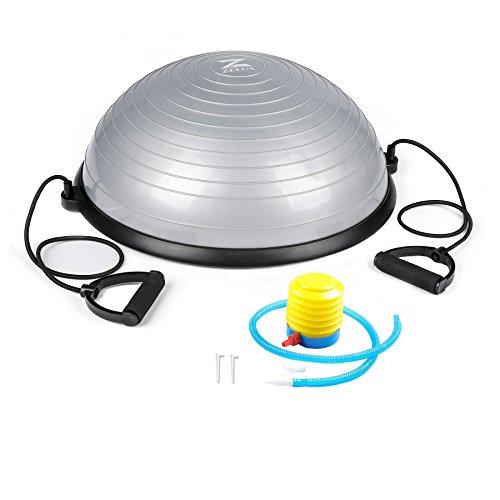 Sfeomi Mezza Sfera Cupola Palla Balance Trainer Equilibrio Palla Balance Board con Cinghie Laterali e Pompa Ball Semisfera per Fitness Allenamento (Grigio)