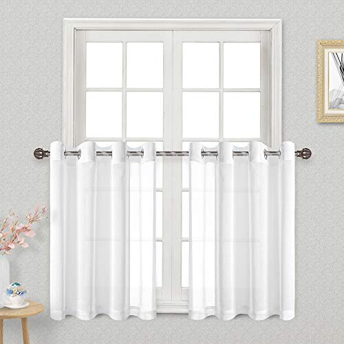 DWCN White Sheer Tier Curtains 36 inch Length- Grommet Faux Linen Small Window Kitchen Curtain Voile Drapes for Cafe Bedroom Living Room, Set of 2 Tier Curtain Panels