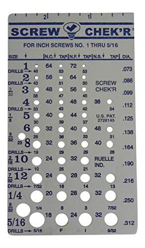 Screw Chek'r SAE/ Inch Screw Thread Size Gauge (No. 1 to 5/16) 1/8 Inch Heavy Gauge Steel Screw Checker, Made in USA