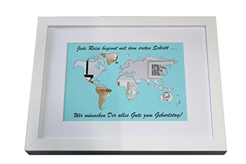 Geldgeschenk beschriftete Weltkarte im Bilderrahmen, Hochzeitsgeschenk, Geburtstag - 2