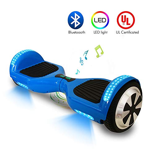 VEEKO Hoverboard Self Balancing UL 2272 Certified Bluetooth Speaker RGB LED Color Changing Light 6.5'' Two-Wheel Solid Rubber Tires 2-4 HS Fast Charge Max 8-11KM Best Gifts for Holiday Season Blue